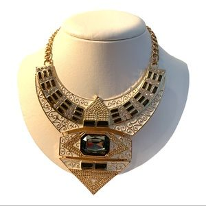 Aztec Egyptian Gem Embellished Necklace Gold Tone